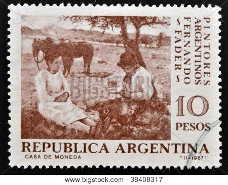 ARGENTINA - CIRCA 1967: A stamp printed in Argentina shows Pick-Nick by Fernando Fader circa 1967