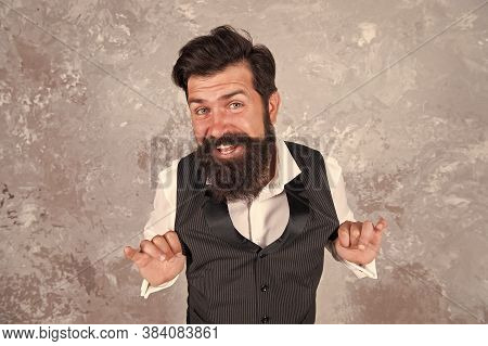 Cheerful And Cunning. Charming Jewish Person. Bearded Jewish Man. Guy Mature Bearded Stylish Dressed