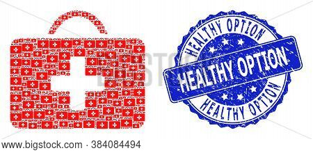 Healthy Option Dirty Round Seal And Vector Fractal Collage Medical Case. Blue Stamp Seal Includes He