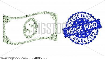 Hedge Fund Unclean Round Seal Print And Vector Recursive Mosaic Waving Dollar Banknote. Blue Stamp I