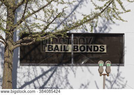 Bail Bonds Sign In A Window Of A Bail Bondsman.