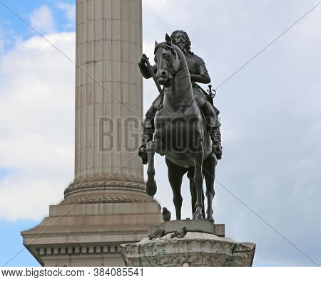 London, Great Britain -may 23, 2016: Bronze Equestrian Statue Of Charles I, The Monarch Over The Thr