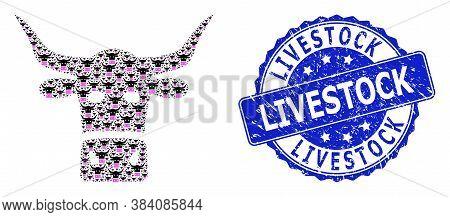Livestock Textured Round Seal Print And Vector Recursive Mosaic Livestock Head. Blue Stamp Seal Incl