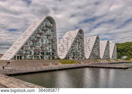 The Wave, Futuristic Waterfront Buildings At The Harbour Of Vejle, Denmark, June 9, 2020
