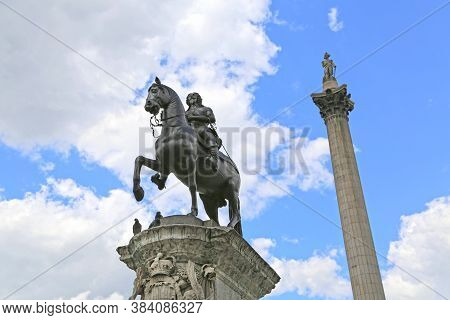 London, Great Britain -may 23, 2016: Trafalgar Square From The Side The Whitehall, Equestrian Statue