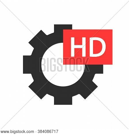 Gear Sign With Hd Video Text. Hd Format Vector Icon. Gear Icon With Hd Sign.