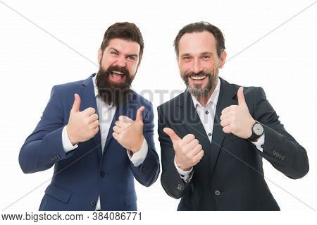 We Offer Only The Best. Happy Businessmen Give Thumbs Up Hands. Bearded Men Smile With Thumbs Up Ges