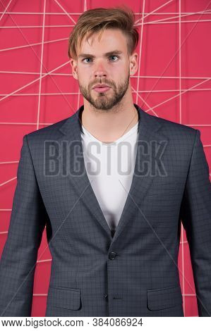 Menswear And Stylish Wardrobe Concept. Man Or Businessman Wear Classic Dark Blue Suit. Male Fashion.