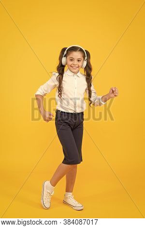 Education And Fun Concept. Online Schooling. Listening Lesson. Sing Song. Child Enjoy Music Sound. A