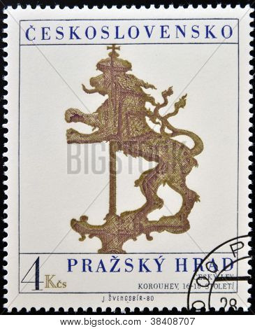 CZECHOSLOVAKIA - CIRCA 1980: A stamp printed in Czechoslovakia show the Coat of Czechoslovakia
