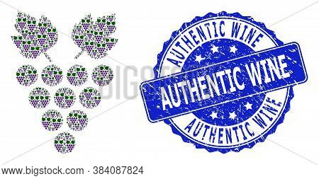 Authentic Wine Unclean Round Stamp Seal And Vector Recursion Composition Grape. Blue Stamp Seal Cont