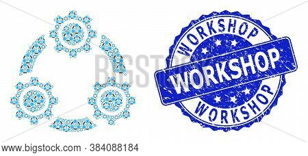 Workshop Textured Round Stamp Seal And Vector Fractal Collage Gear Planetary Transmission. Blue Seal