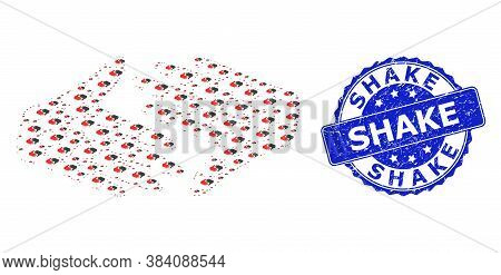 Shake Dirty Round Stamp And Vector Recursion Composition Fair Trade Handshake. Blue Stamp Seal Has S