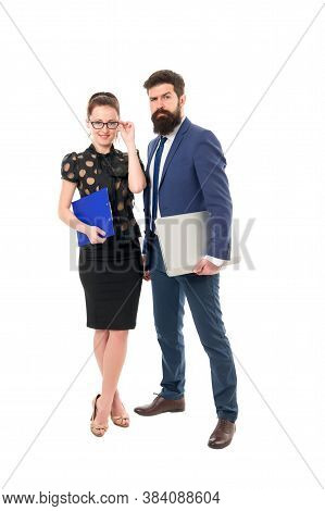 Couple Focused On Career. Couple Of Business Partners. Couple In Love Isolated On White. Couple Work