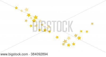 Star Confetti. Golden Casual Confetti Background. Bright Design Pattern. Vector White Template With
