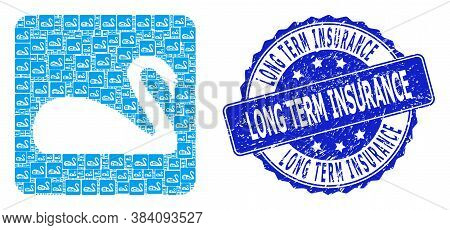 Long Term Insurance Rubber Round Seal Print And Vector Recursive Mosaic Swan. Blue Stamp Seal Has Lo