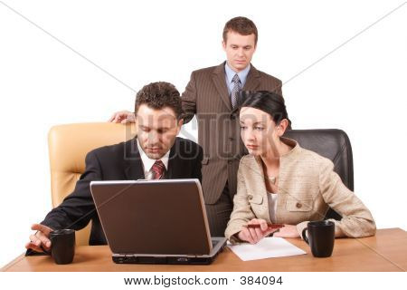 Group Of  Business People Working Together  With Laptop In The Office  Horizontal,  Isolated