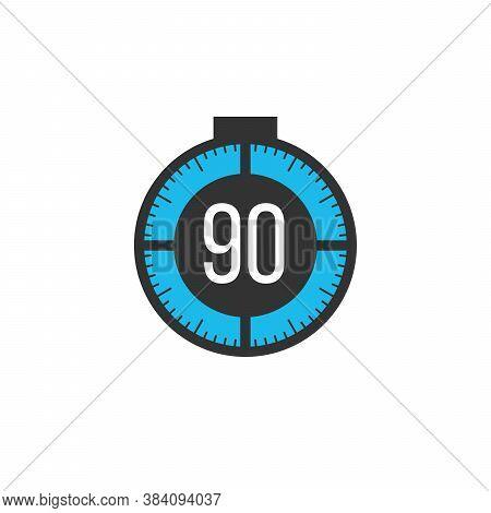 90 Minutes Timer, Stopwatch Or Countdown Icon. Time Measure. Chronometr Icon. Stock Vector Illustrat