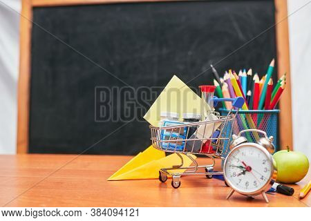 School Still Life, Basket With Stationery On School Board Background, University, College