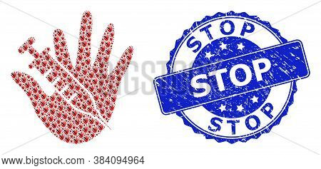 Stop Rubber Round Stamp And Vector Fractal Collage Vaccine Stop Hand. Blue Stamp Seal Has Stop Title