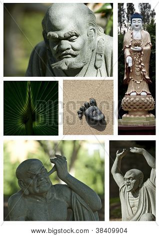 Buddhist Statue Collage