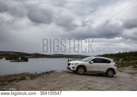 Whitehorse, Carcross, Yukon, Canada - August 21, 2020: Mazda Cx-5 Riding On The Offroad To Lewes Lak