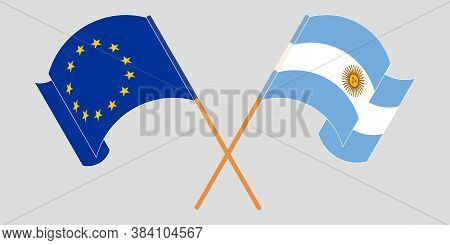 Crossed And Waving Flags Of Argentina And The Eu. Vector Illustration