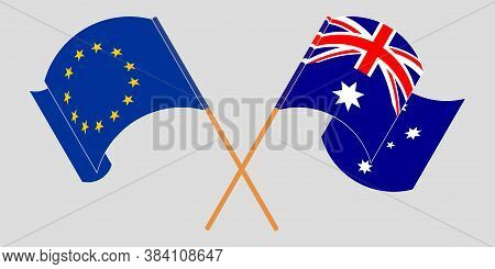 Crossed And Waving Flags Of Australia And The Eu. Vector Illustration