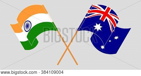 Crossed And Waving Flags Of Australia And India. Vector Illustration