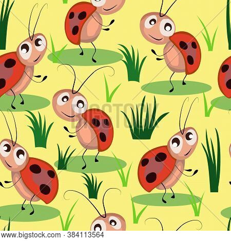 Seamless Pattern, Children's Drawing, Fabulous Ladybugs, Ornament For Wallpaper And Fabric, Wrapper,