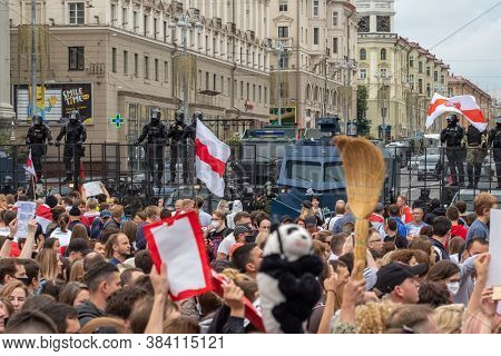Minsk, Belarus - September 7, 2020: Peaceful protest march of Freedom in Minsk, Belarus. Thousands of people gathered again to demand new fair elections and resignation of Lukashenko.