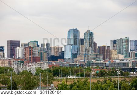 Denver, Colorado - August 30, 2020: Denver Downtown Cityscape On A Cloudy Afternoon