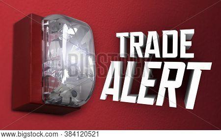 Trade Alert Message Update Service Alarm Stock Trade Light 3d Illustration