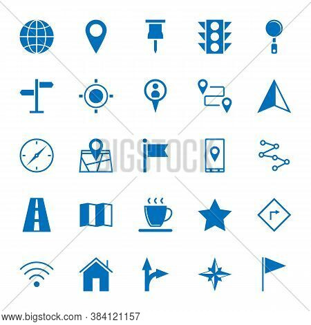 Solid Icons Of Map Icons On White Background. 64x64 Pixel Perfect.