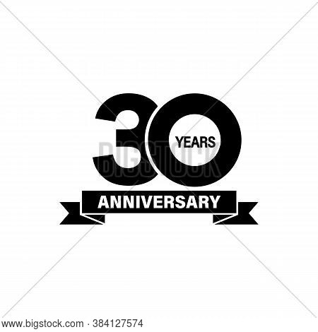 Celebrating 30 Years Anniversary Banner. Vector On Isolated White Background. Eps 10