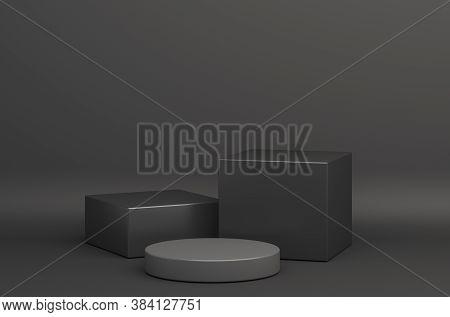 Black Friday Podium, Product Display Mock Up On Studio Lighting Background. Black Friday Sale, 3d Re
