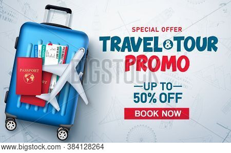 Travel And Tour Promo Vector Background Template. Travel And Tour Special Offer Promo Discount Text