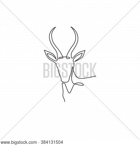 One Single Line Drawing Of Beauty Antelope Head For Logo Identity. Horned Mammal Animal Mascot Conce