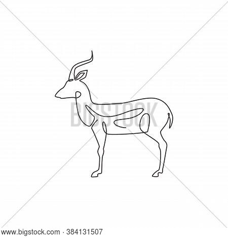 One Single Line Drawing Of Beauty Antelope For Logo Identity. Horned Mammal Animal Mascot Concept Fo