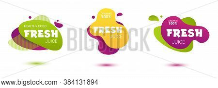 Set Of Colorful Fresh Juice Tag. Bright Splash Shiny Stickers, Organic Emblems, Tags And Labels. For