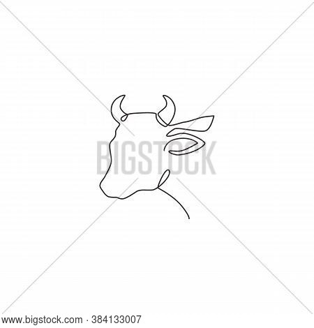 One Continuous Line Drawing Of Sturdy Cow Head For Agriculture Logo Identity. Mammal Animal Mascot C