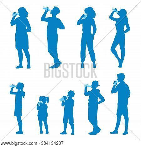 People Silhouette Drinking Water, Flat Cartoon Vector Illustration Isolated