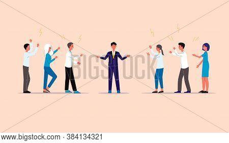 Businessman Mediator Between Conflicting People, Flat Vector Illustration.
