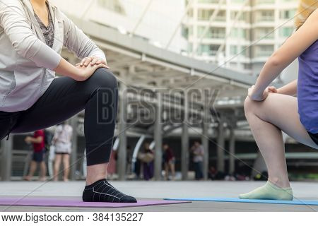 Sport Fitness Women Running Exercise In Modern City Wear Wellness Sportswear Outside. Young Woman Wo