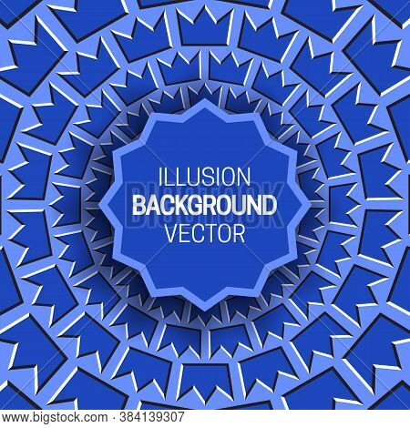Round Frame On Blue Optical Illusion Hypnotic Background Of Rotating Crown Shapes Pattern.