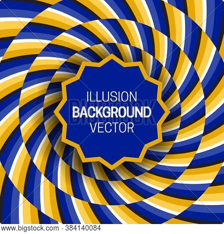 Round Toothed Frame On Golden Blue Optical Illusion Hypnotic Background Of Rotating Spiral Striped P