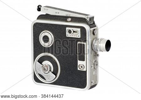Old Hand Movie Camera, Isolated On White