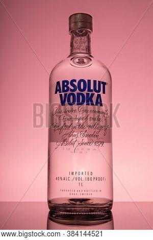Varna, Bulgaria - August 18, 2020: Bottle Of Swedish Vodka Absolut. Absolut Vodka Was Established In