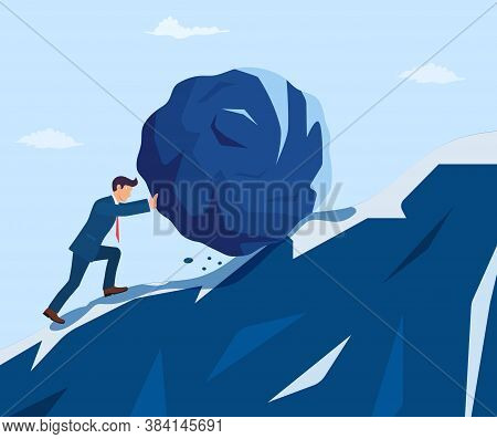 Businessman Pushing Huge Stone Up The Hill. Business Problem Crisis Hardship And Burden Concept. Car