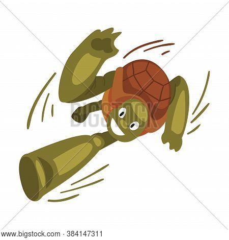 Fast Funny Turtle Running, Tortoise Animal Cartoon Character Speed Leader Vector Illustration On Whi